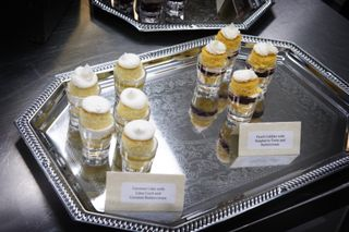 Cake Shots....I believe these are coconut cake with coconut buttercream with lemon curd filling and yellow buttercake with blueberry curd filling.